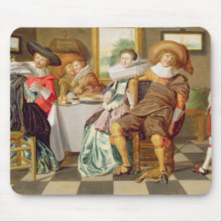 Elegant Figures Feasting at a Table Mouse Pad