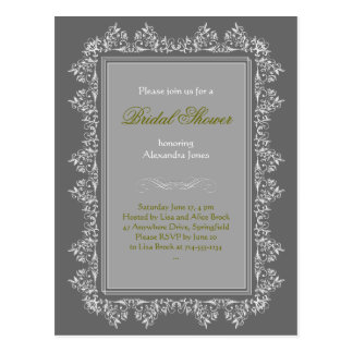 Elegant Filigree Bridal Shower Party Invitation 8 Postcard