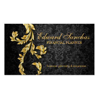 Elegant Financial Planner Gold Leaf Black Gray Business Card Template