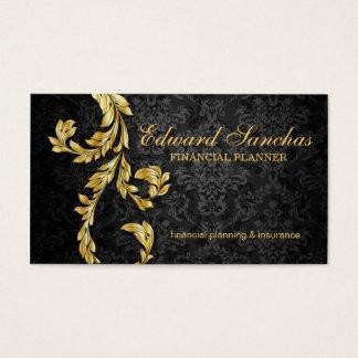 Elegant Financial Planner Gold Leaf Black Gray Business Card