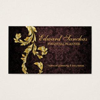 Elegant Financial Planner Gold Leaf Brown Business Card