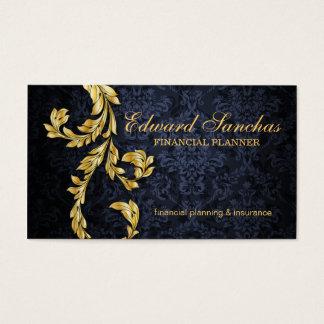 Elegant Financial Planner Gold Leaf Navy Blue Business Card