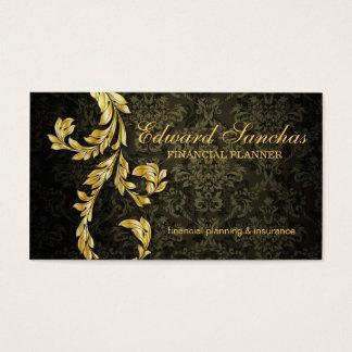Elegant Financial Planner Gold Leaf Olive Green Business Card