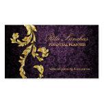 Elegant Financial Planner Gold Leaf Purple Business Cards