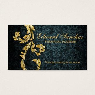 Elegant Financial Planner Gold Leaf Teal Green Business Card