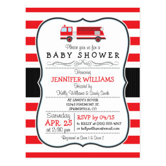 Elegant Fire Truck Baby Shower Invitation Postcard