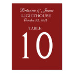 Elegant Firebrick Red Wedding Table Number Card Post Card