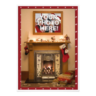 Elegant Fireplace Christmas Party Family Reunion Personalized Invites