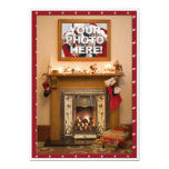 Elegant Fireplace Christmas Party / Family Reunion 5x7 Paper Invitation Card