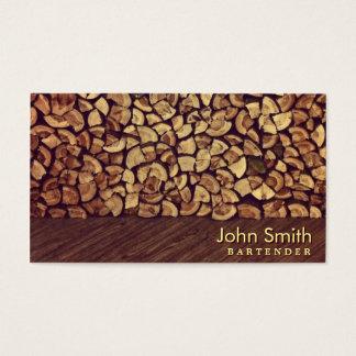Elegant Firewood Bartender Business Card