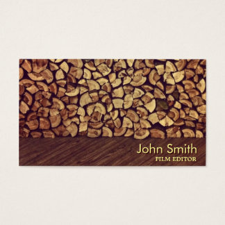Elegant Firewood Film Editor Business Card