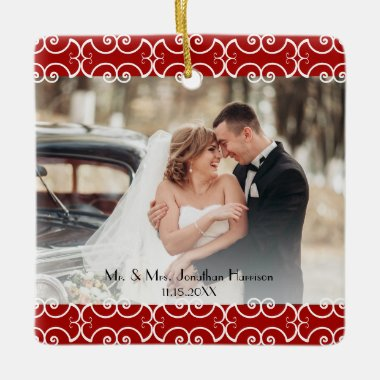 Elegant First Christmas Married Red Photo Wedding Ceramic Ornament