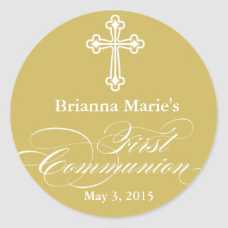 Elegant First Communion Party Favor Labels|Tags Classic Round Sticker