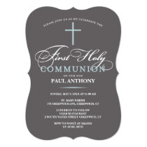 Elegant First Holy Communion Invitation Blue