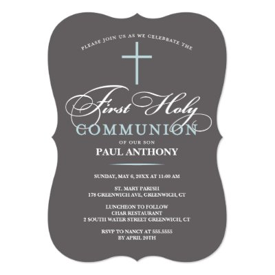 First Holy Communion Cross Girl Photo Lavender Invitation Zazzlecom