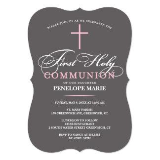Elegant First Holy Communion Invitation Pink