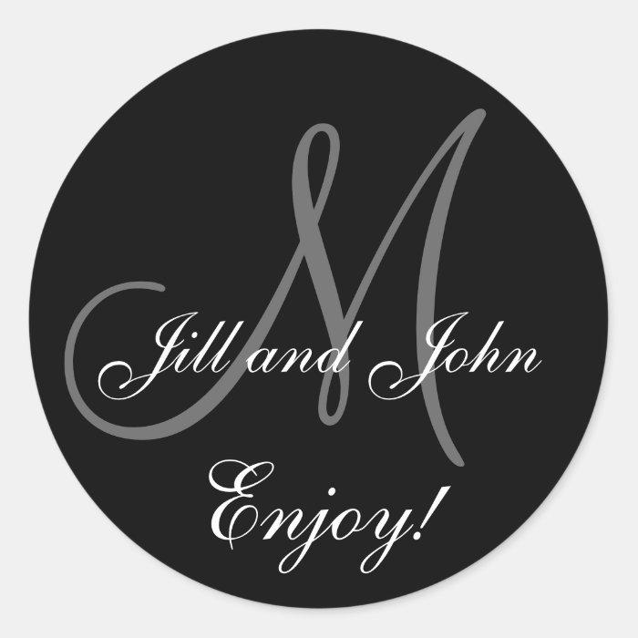 Elegant First Names Monogram Wedding Favor Sticker