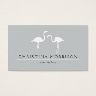 Elegant Flamingos on Slate Blue Business Card