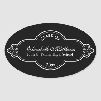 Elegant Fleur Class Name School Graduation Oval Sticker