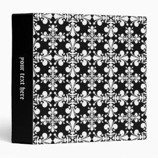 Elegant fleur de lis damask in black and white binder