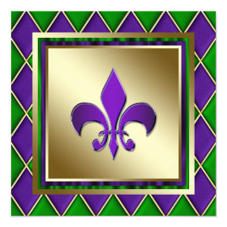 Elegant Fleur De Lis Mardi Gras Wedding 5.25x5.25 Square Paper Invitation Card