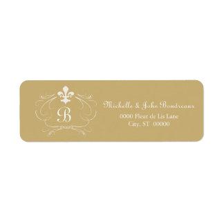 Elegant Fleur de Lis Monogram Custom Return Address Labels