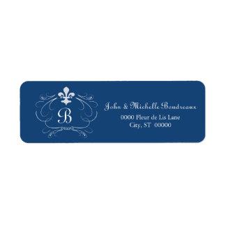 Elegant Fleur de Lis Monogram Return Address Label