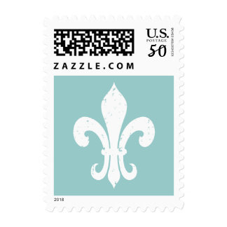 Elegant fleur de lis postage stamps   Teal & white