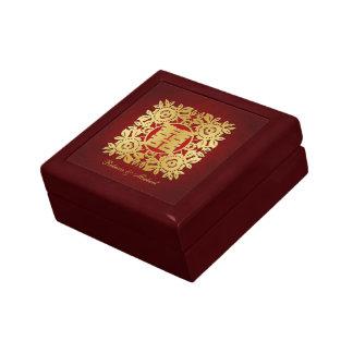 Elegant Flora Gold Chinese Double Happiness Keepsake Box