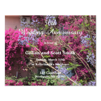 Elegant Floral 50th Wedding Anniversary Invitation