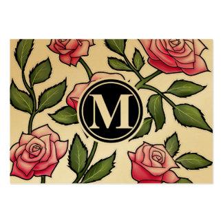 Elegant Floral and Monogram Large Business Cards (Pack Of 100)