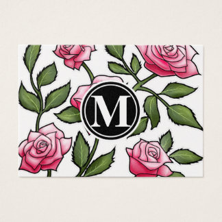 Elegant Floral and Monogram Business Card
