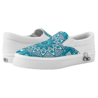 Elegant floral aqua Turquoise Boho tribal pattern Slip-On Sneakers