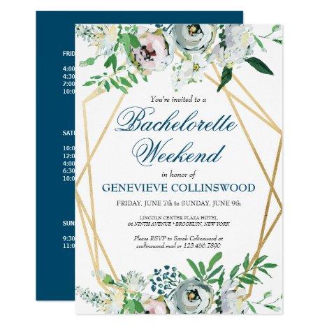 Elegant Floral Bachelorette Weekend Itinerary Invitation