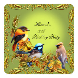 Elegant Floral Bird Green Gold Birthday Party Card