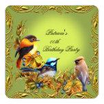Elegant Floral Bird Green Gold Birthday Party 5.25x5.25 Square Paper Invitation Card
