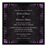 Elegant Floral Black and Purple Damask Wedding 5.25x5.25 Square Paper Invitation Card
