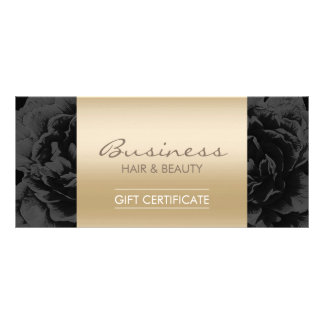 Elegant Floral Black Gold Salon Gift Certificates