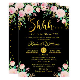 Elegant Floral Black Gold Surprise Birthday Party Invitation