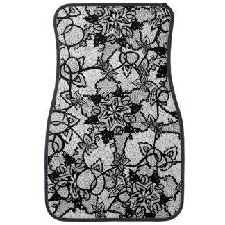 Elegant floral black hand drawn lace pattern car mat