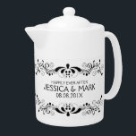 """Elegant Floral Black Lace With White Damasks 2 Teapot<br><div class=""""desc"""">Elegant black floral lace design over white floral damasks pattern,  customizable template. Suggested black font color. If you need any help customizing any of my designs,  contact ArtOnWear designer. Free text formatting with live help available by request.</div>"""