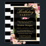 "Elegant Floral Black White Stripes Birthday Party Card<br><div class=""desc"">Elegant Floral Black White Stripes Birthday Party Invitations Template . (1) For further customization, please click the &quot;customize further&quot; link and use our design tool to modify this template. (2) If you prefer Thicker papers / Matte Finish, you may consider to choose the Matte Paper Type. (3) If you need...</div>"