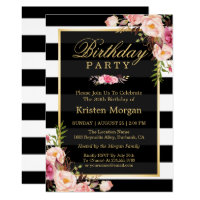 Elegant Floral Black White Stripes Birthday Party Card