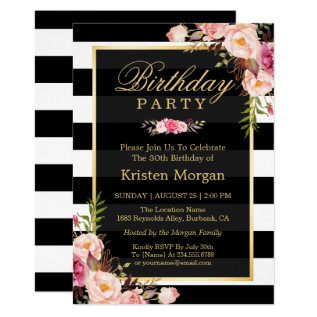 Elegant Floral Black White Stripes Birthday Party Card at Zazzle