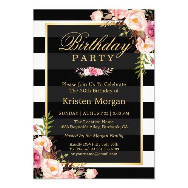 Elegant Floral Black White Stripes Birthday Party Card (back side)