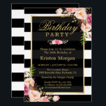 "Elegant Floral Black White Stripes Birthday Party Invitation<br><div class=""desc"">Elegant Floral Black White Stripes Birthday Party Invitations Template . (1) For further customization, please click the ""customize further"" link and use our design tool to modify this template. (2) If you prefer Thicker papers / Matte Finish, you may consider to choose the Matte Paper Type. (3) If you need...</div>"