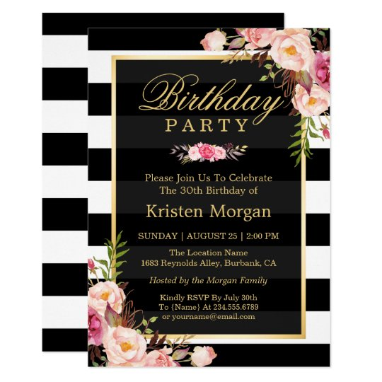 Elegant floral black white stripes birthday party invitation elegant floral black white stripes birthday party invitation stopboris Image collections