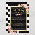 """Elegant Floral Black White Stripes Birthday Party Invitation<br><div class=""""desc"""">Create your perfect invitation with this pre-designed templates, you can easily personalize it to be uniquely yours. For further customization, please click the """"customize further"""" link and use our easy-to-use design tool to modify this template. If you prefer Thicker papers / Matte Finish, you may consider to choose the Matte...</div>"""
