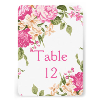 Elegant Floral Blossom Roses Table card