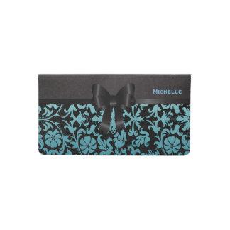 Elegant Floral Blue and Black Damask Checkbook Cover